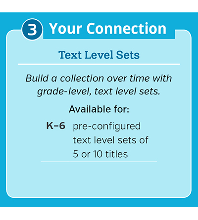 3. For your connection: Text level sets. Build a collection over time with grade-level, text-level sets.